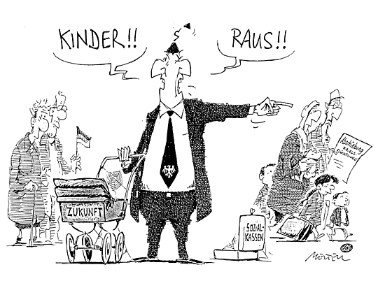"""Kinder raus..."" © Cartoon-Caricature-Contors"