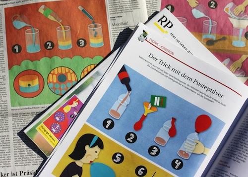 Experimente für Kinder in der Rheinischen Post, Berlin, Einkaufsstadt für Kinder, Illustration von Dana Dublin