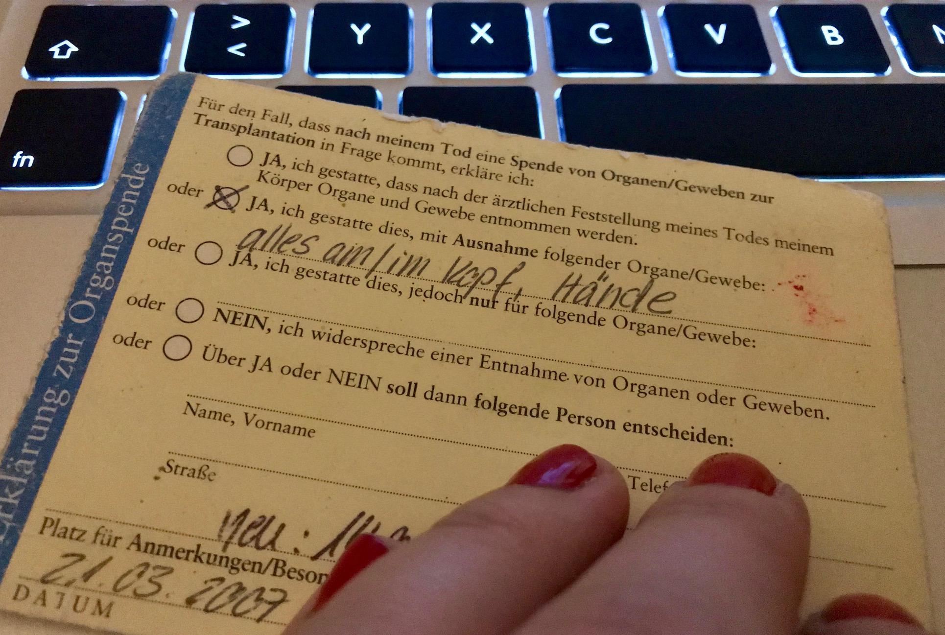 Warum ich nach 11 Jahren einen neuen Organspendeausweis ausfülle